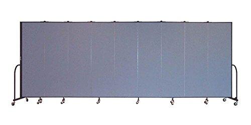 Freestanding 80 in. Portable Room Divider w 9 Panels (Lake Fabric) - Screenflex Freestanding Panels