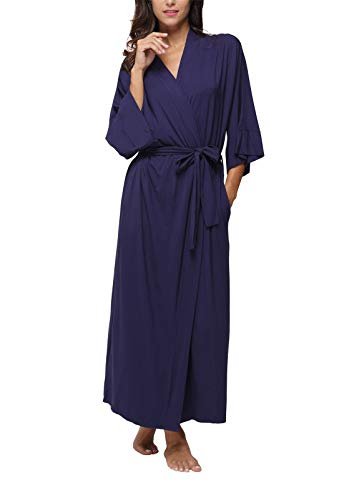 Women's Kimono Robes,Long Bathrobes Soft Dressing Gown Loungewear,Navy -