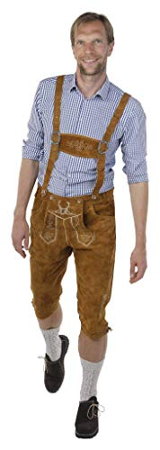 BAVARIA TRACHTEN Oktoberfest Lederhosen Men - Original from Germany. Authentic Leather Pants Genuine Leather – Excellent Stitching & Details – Comfortable Design Brown ()