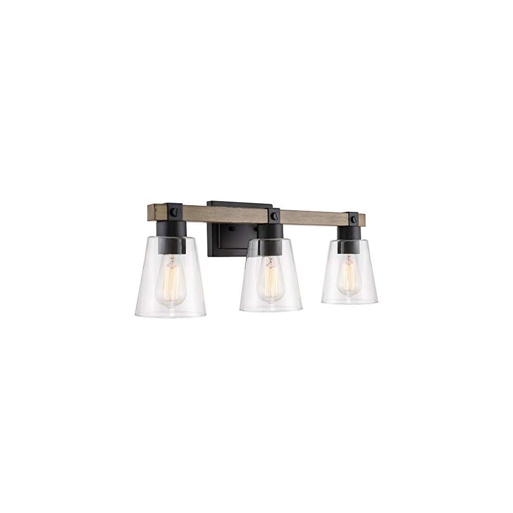 "Kira Home Asher 23"" 3-Light Farmhouse Vanity/Bathroom Light + Funnel Glass Shades, Smoked Birch Wood Style + Black Finish"