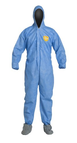 DuPont ProShield 10 PB122S Disposable Protective Coverall with Elastic Cuff, Standard Fit Hood and Attached Skid-Resistant Boots, Blue, X-Large (Pack of 25) ()