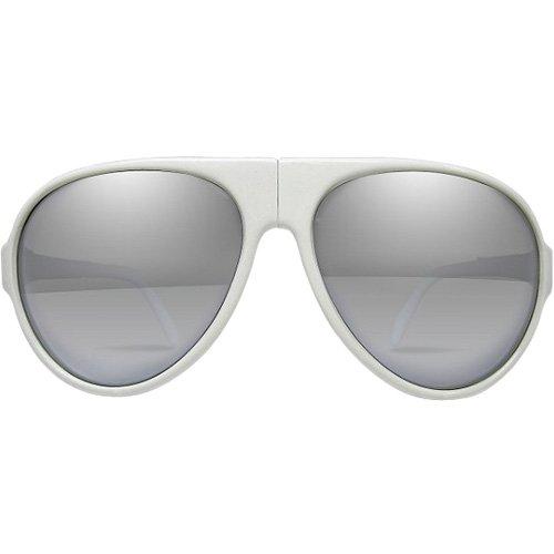 I Ski Unisex Bighorn Sunglasses, White/Smoke with Silver Mirror, - I Ski Sunglasses