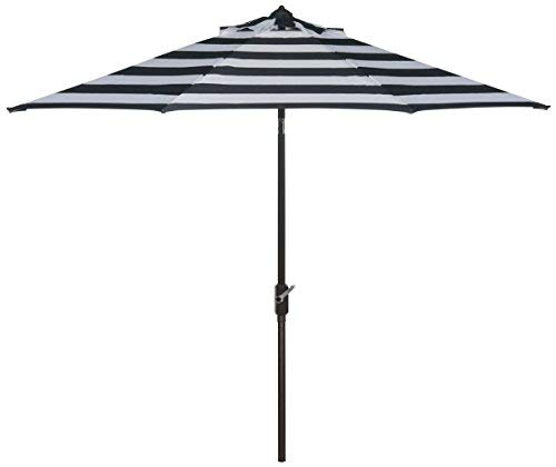 Safavieh Outdoor Collection Iris Fashion Line Auto Tilt Black and White 9-inch Umbrella