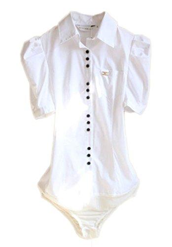 Soojun Women Short Sleeve Button Down Career Shirt Bodysuit Blouse, (US 2, 4-White) (Shirt Womens Bodysuit Dress)