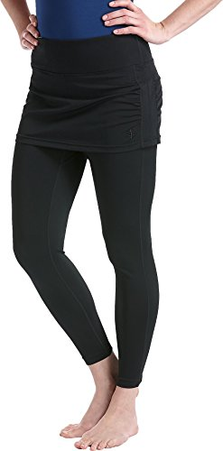 Coolibar UPF 50+ Women's Skirted Swim Tights - Sun Protective (Large - Black)