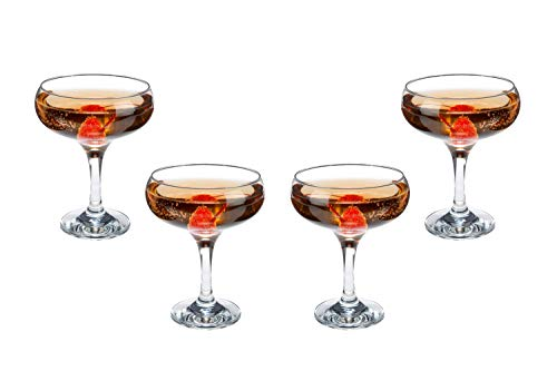 Kouros Champagne Coupe Glasses 9 Oz, Modern Crystal Clear Glassware Set of (4)
