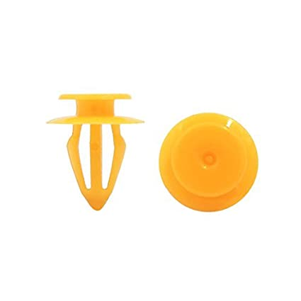 eDealMax 100 piezas de plástico Amarillo Universal Remaches Protección Contra salpicaduras Sujetador Clips 10 mm Para
