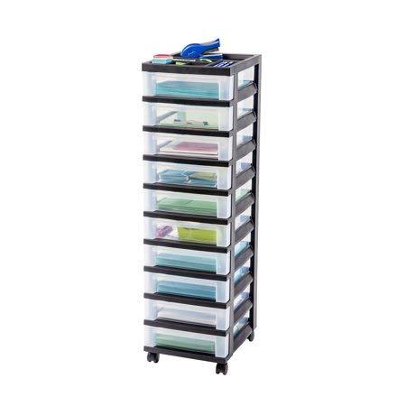 IRIS 10-Drawer Rolling Storage Cart with Organizer Top, Black