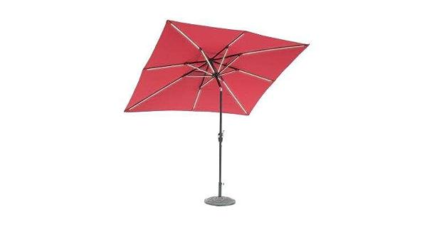 Sunray 9 Ft X 7 Ft Rectangle Next Gen Solar Lighted Market Patio Umbrella And Base Scarlet Garden Outdoor