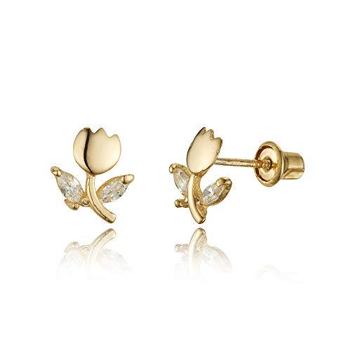 (14k Yellow Gold Tulip Flower Cubic Zirconia Children Screwback Baby Girls Stud Earrings)