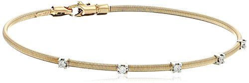 14k Yellow Gold Fancy Wire Diamond with Lobster Clasp Lock Bangle Bracelet (1/10cttw, I-J Color, SI2-I1 Clarity)