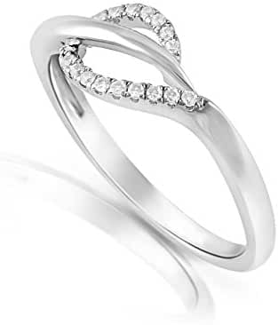 Sterling Silver Cz Delicate Leaf Ring (Size 5 - 9)