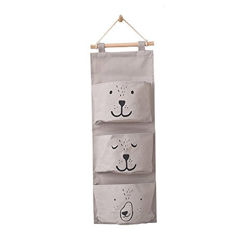 Cute Bear Wall Mounted Storage Bag Over the Door Storage Pockets Wall Door Closet Hanging Storage Bag Organizer (Dimgray)