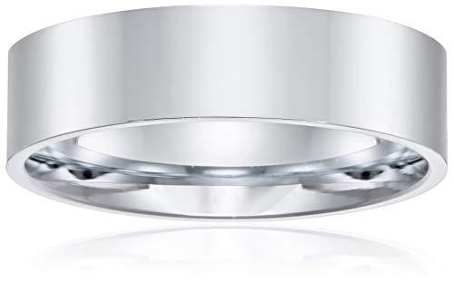 14k White Gold Flat Band - Decadence Unisex 14K White Gold 6mm Polished Flat Comfort Feel Plain Wedding Band, 9.5