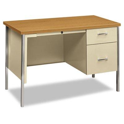 34000 Series Right Pedestal Desk, 45 1/4w x 24d x 29 1/2h, Harvest/Putty, Sold as 1 Each (Right 34000 Pedestal Series)