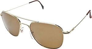 AO Original Pilot Sunglasses, Wire Spatula, Gold Frame, Amber Glass Lens, 55mm,