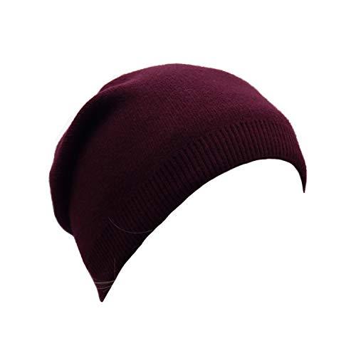 Wheebo Beanie Hat Cashmere Stretch Skull Ski Cap for Women Men -Winter Knit Hat Solid Color Unisex Style (Burgundry)