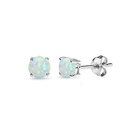 - Sterling Silver Simulated White Opal 4mm Round-Cut Solitaire Stud Earrings