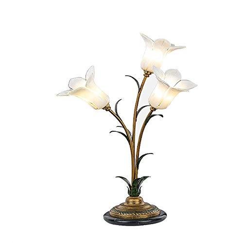 Luminaire Glass Table Lamp - Nanle American Table lamp Bedroom Bedside lamp Warm Romantic Creative Garden Flower lamp Study Living Room Villa Hotel Decorative Table lamp (Color : White)