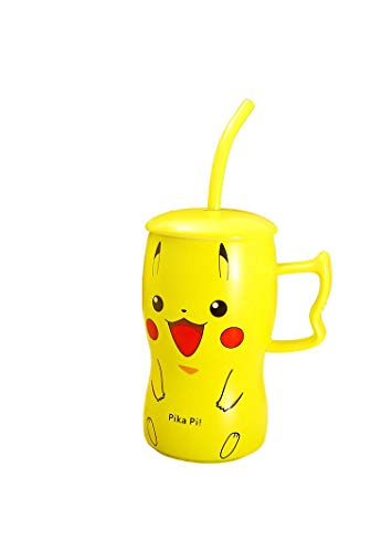 Famous Anime Pocket Monsters Cartoon Yellow With Straw Ceramic Cup Tea Water Milk Mug Pattern With Lid High Temperature Resistant Watter Cup Cute Gifts for Children (Random color)