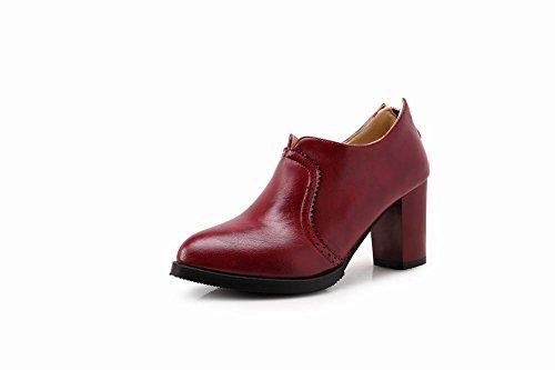 Mee Shoes Damen modern elegant runder toe Geschlossen Reißverschluss Spitze Ankle-Stiefel Weinrot