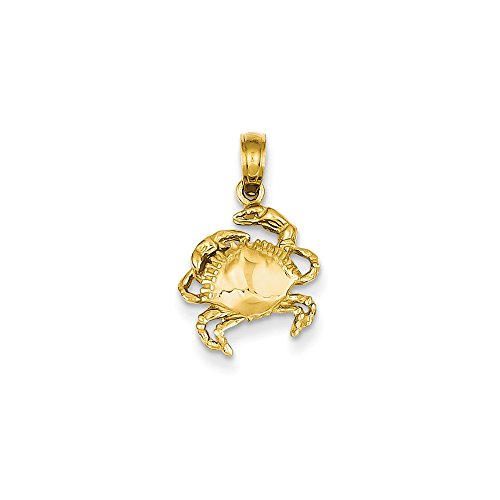 Mia Diamonds 14k Solid Yellow Gold Crab Pendant (29mm x 11mm) ()