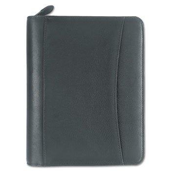 Nappa Leather Ring Bound Organizer W/zipper, 8 X 10, Black