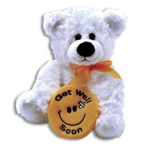 Plush Get Well Soon BEAR ~ 10 Inch Feel Better Bear with a smiley face ~ Soft Teddy Bear Hug Pillow ILLNESS/Sick CHILD/CHEER - Bear Valley Mall