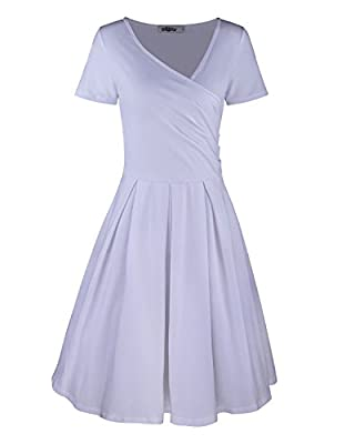Styleword Women's Short Sleeve V Neck Casual Elegant Dress