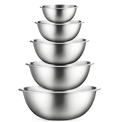 Premium Stainless Steel Mixing Bowls (Set of 5) Brushed Stainless Steel Mixing Bowl Set - Easy To Clean, Nesting Bowls for Space Saving Storage, Great for Cooking, Baking, ()