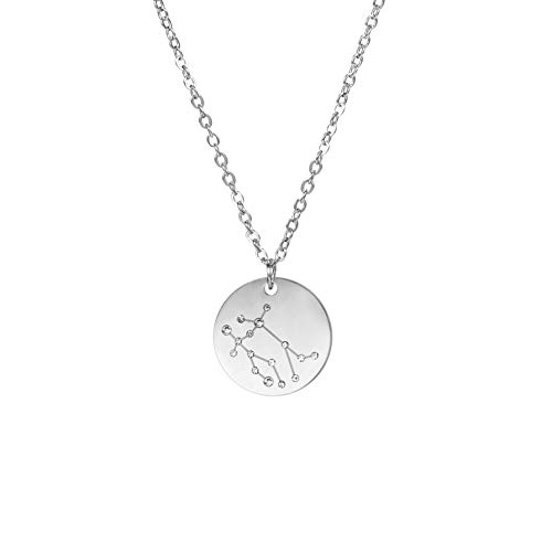 14K Gold Plated Astrology Horoscope Constellation Zodiac Coin Necklace Couples (Platinum Plated, Gemini)
