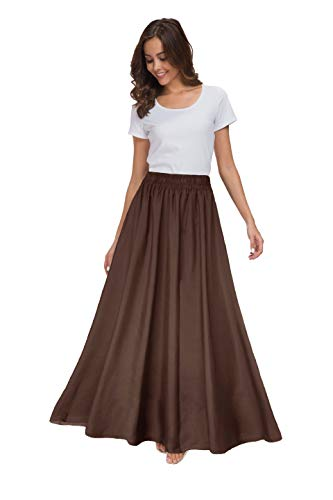 Sinono Womens Chiffon Retro Maxi Skirt Vintage Ankle-Length Skirts (Large, Brown)