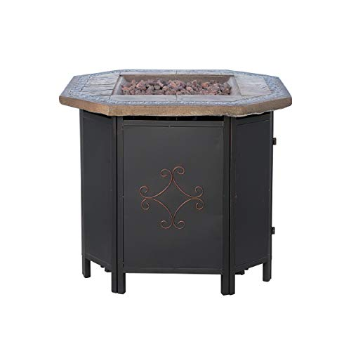 Christopher Knight Home 296664 Myrtle Outdoor Octagonal Fire Pit Table – 30″ Propane Gas Patio Heater with Lava Rocks