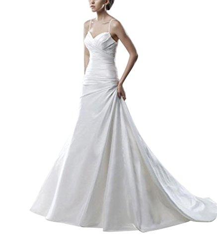 GEORGE Brautkleider Buegel Spaghetti Ausschnitt Weiß Einfache Hochzeitskleider Schatz BRIDE rRUWnZr