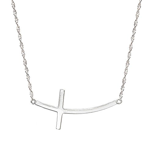 Pyramid Jewelry 10k White Gold Horizontal Curved Cross Necklace (16 Inches, Singapore Chain)
