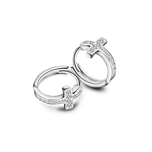 (Cubic Zirconia Cross Small Hoop Earrings for Women Girls Sterling Silver Crystal Religious Tiny Huggie Hoops 12mm)