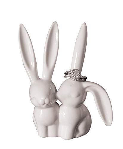 Animal Ring Holder - Creative Co-op White Ceramic Bunny Ring Holder, 3