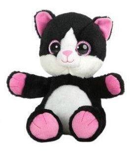 GATO OJOS BRILLANTES - Peluche Gato negro con patas rosas (24cm) - Buena calidad