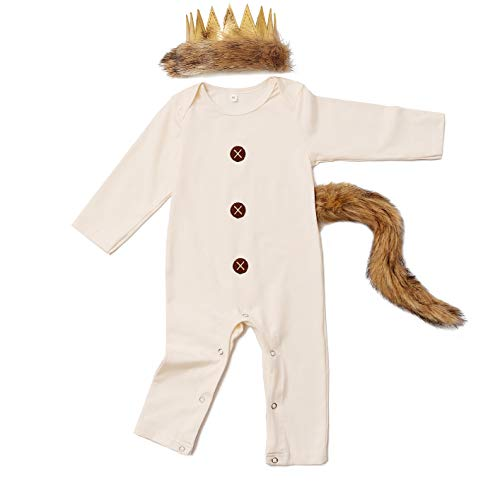 6 12 Month Halloween Costumes (Baby Boys Halloween Costume Outfits King of The Wing Thing Romper with Tail and Crown (Beige,6-12)