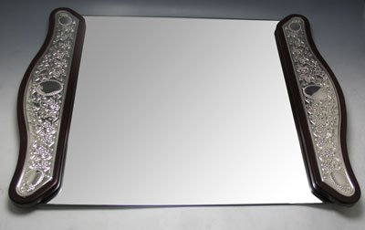 Elegant Mirror Tray, Wood and Sterling Silver, Rectangular ()