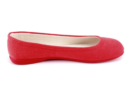 Andres Machado AM527.Ballet flats with no bow.Small, Medium&Large sizes:UK 3.5 to 10.5/EU 36 to 45. Red Canvas