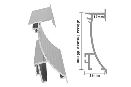 Profilo Canalina Barra Alluminio Led Da Incasso A Muro Parete