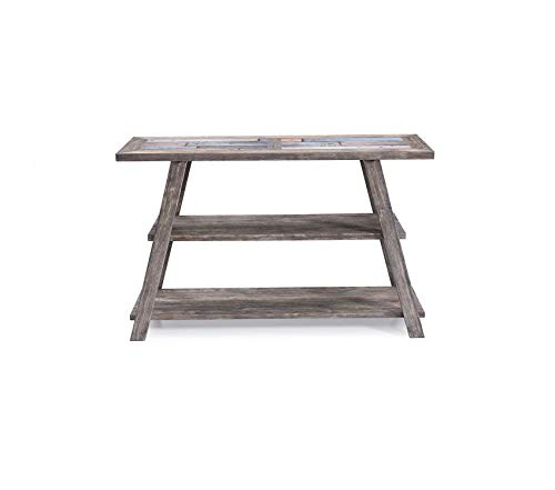 Sofa Table in Cement Gray with Ceramic Tile Top and Open Wood Shelf by Decor Comfy Living Furniture Deluxe Premium Collection