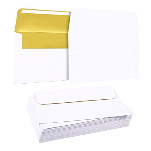 50 Pieces A7 Invitation Envelopes - Gold Foil Lined Envelopes - Perfect for Weddings, Graduations, Birthday Invitations - 120gsm, 5.25 x 7.25 Inches, White