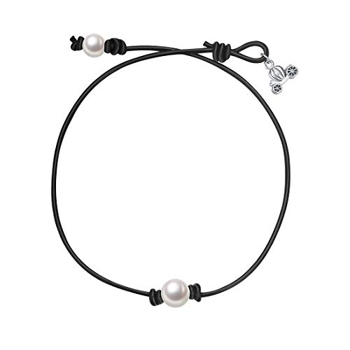 Collar Pearl Necklace Cultured (Bigbabybig Leather Choker Necklace with Natural Pearls in The Middle for Women Girls Handmade(Black(14inch)))