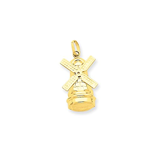 ICE CARATS 14kt Yellow Gold Windmill Pendant Charm Necklace Travel Transportation Fine Jewelry Ideal Gifts For Women Gift Set From Heart 14k Gold Windmill