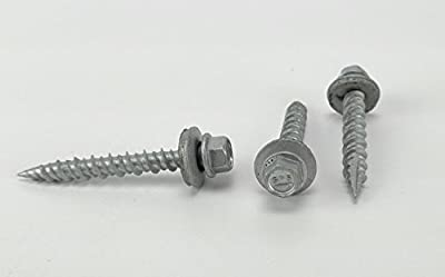 #10 x 1-1/2 Hex Washer Head Metal Roof Screw. 100ct - Self starting/self tapping metal to wood, sheet metal roofing, siding screws with EPDM washer seal. Powder Coated for Corrosion Resistance. For corrugated roofing. (#10 x 1-1/2 Inch)