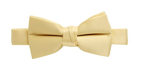 (Sportoli Kids and Baby Adjustable Solid Color Banded Satin Pre-tied Tux Bow Tie - Yellow)