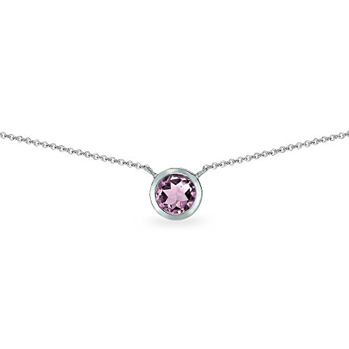 (Sterling Silver Simulated Alexandrite 6mm Round Solitaire Bezel-Set Dainty Choker Necklace for Women Teen Girls)