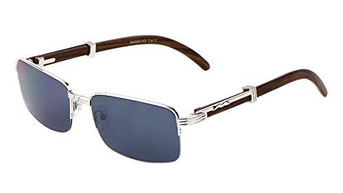 Executive Slim Half Rim Rectangular Metal & Wood Aviator Sunglasses (Silver & Dark Brown Wood, - Rectangular Sunglasses Aviator